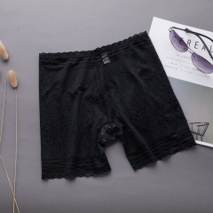 Ms Anti-lighting Safety Pants Three Points Lace Breathable Locking Bottoming Underwear black one size