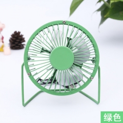 4 Inch USB Electric Fan Mini Aluminum Leaf USB Small Fan Lron Art Fans green