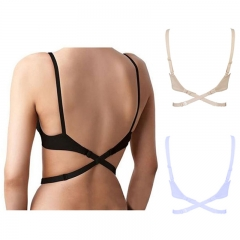 Women's Adjustable Low Back Converter Bra Strap Extender Crisscross Underwear white one size
