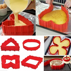 Nonstick Pancake Egg Flipper Maker Tools Silicone Magic Bake Snake Cake Mold red one size