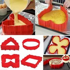 Nonstick Pancake Egg Flipper Maker Tools Silicone Magic Bake Snake Cake Mold red one size