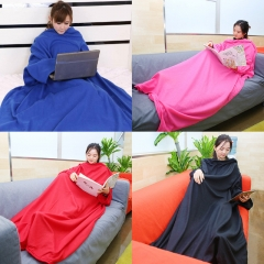 Creative   Coral Carpet Home Sleeping Blanket Lazy Plush Washable Snuggie Blanket With Sleeves random color one size