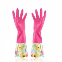 Keep Warm Plus Velvet Thicken Rubber Gloves do The Washing up Rubber Wide Mouth Sleeves Gloves random color one size