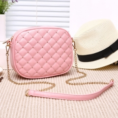 Ms Fashion Trend Lingge Chain Bag Shoulder Diagonal Package Mini Packet pink one size