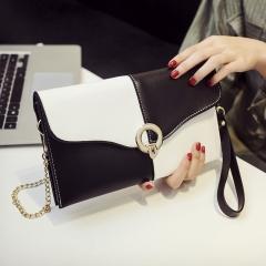 Ms Colorblock Envelope Bag Shoulder Crossbody Bag personality Fashion Wild Temperament Hand bag black white one size