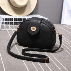 Ms Frosted Vintage Small Round Package Wild Portable Shoulder Bags Diagonal Package black one size