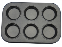 High Quality Carbon Steel DIY 6 holes Cake Mould Nonstick Baking Mould black one size