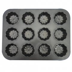 Baking Mould 12 Flower Pattern Metal Carbon Steel Non-stick Cake Mould black one size