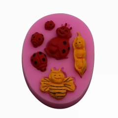 Baking Tool DIY Chocolate Mould Liquid State Silica Gel Bee ladybug Fondant Cake Mould red one size