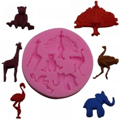 Baking Tool Silica Gel Liquid State Peacock Deer Bear Like Crowned Crane Cartoon Fondant Mould red one size
