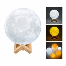 3D Moonlight Led Remote Control Charging Colorful 3D Print Moon light Home Decoration Table Lamp white oen size 3.7w