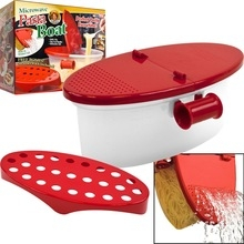 Cooker Heat Resistant PP Boat Microwave Steamer Boat Strainer Microwave Kitchen Tools red one size