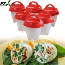 Silicone Egglettes Egg Cooker Hard Boiled Eggs Eggies Without the Shell For Egg Tools red one size