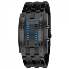 Waterproof led Tungsten Steel table trend Fashion Men and Women Student Cool alloy Digital Watch black Men