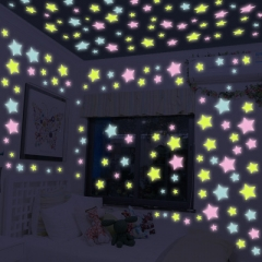 100Pcs Luminous Stars Wall Stickers Home Glow In The Dark Stars For Kids Fluorescent Stickers blue one size