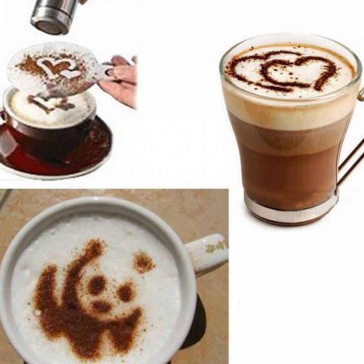 16 Pcs Coffee Drawing Cappuccino Mold Fancy Natie Printing Model Coffee Foam Spray Cake Tools white one size