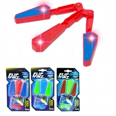 Plastic Rotating Flail Flip Finz Finger Tip Flipping Butterfly Knife with Light Relieve Toy red one size