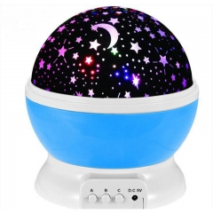Lamp Rotary Flashing Starry Star Moon Sky Star Projector Kids Baby Romantic LED Table Lamp blue one size