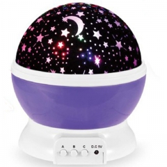 Lamp Rotary Flashing Starry Star Moon Sky Star Projector Kids Baby Romantic LED Table Lamp purple one size