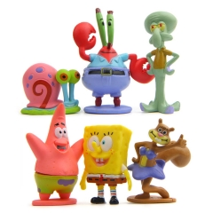 SpongeBob Send a Big star Snails Octopus Modeling Hand Diy Wild Landscaping Doll 6set one size