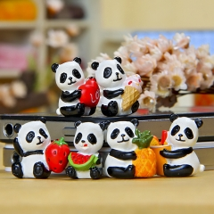 Super Cute Panda Food Version Micro landscape Potted Plant Gardening Accessories 6 set one size
