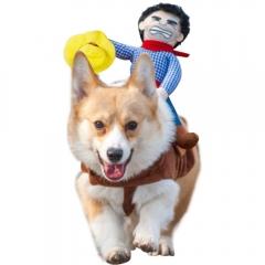 Pet Riding Equipment Cowboy knight Clothes Funny Pet Clothes Dog Clothes pet Supplies brown s