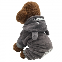 Pet Totoro Transformed Dress Pet New Clothes Pet dog Four Corners Clothes Autumn and winter gray one size