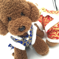 Dog clothes Fall and Winter Clothes Red Teddy VIP Cotton Coat Bichon New year Festive pet Tang suit blue xs