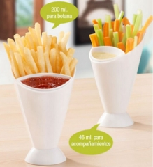 Western Style French Fries cup Vegetables Salad Cup Creative Bevel Western food Cutlery cup white one size