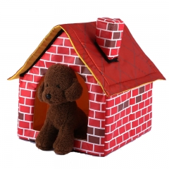Washable Red Brick Pet Waterloo Dog Single room Chimney House kennel Cat nest Tent red one size