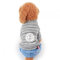 Bear Stripe Cowboy Boxer Spring and Summer Clothes Four-legged Clothes Thin Section Dog clothes gray xs
