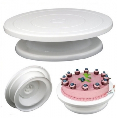 Plastic Cake Rotary Table DIY Baking Tool Cake Stand Cake Turntable Rotating Cake Baking Tool white one size