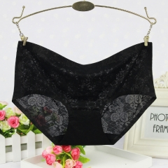 Breathable Gentle Hollow Sexy Jacquard One Piece Female Mid Waist Sexy Panties black one size