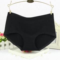 High quality Cotton underwear Solid color Mid waist Ms Panties No trace Comfortable Hip Waist Briefs black one size