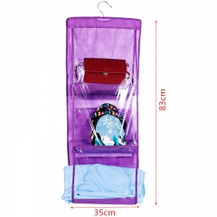 Dustproof Storage Bag Six-layer Double-sided Multi-functional HandBag Storage Hanging Bag purple one size