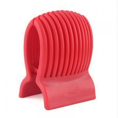 Tomato Slicer Plastic Fruit Vegetable Cutter Red Slicer Guide Potato Onion Holder Cutter red one size