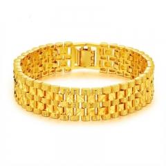 Men Creative Plated 18K imitation gold Bracelet Domineering big boss Watch chain gold men