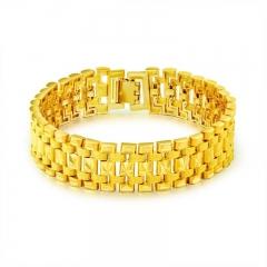 Plated 18K Imitation gold Bracelet classic Men tank Bracelet Euro currency wristband gold one size