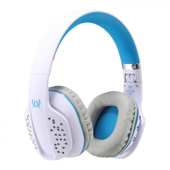 B3507 Bluetooth Headphones Foldable Wireless Bass Stereo PS4 Gaming with Mic Led Earphone Handsfree White blue