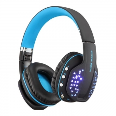 B3507 Bluetooth Headphones Foldable Wireless Bass Stereo PS4 Gaming with Mic Led Earphone Handsfree black blue
