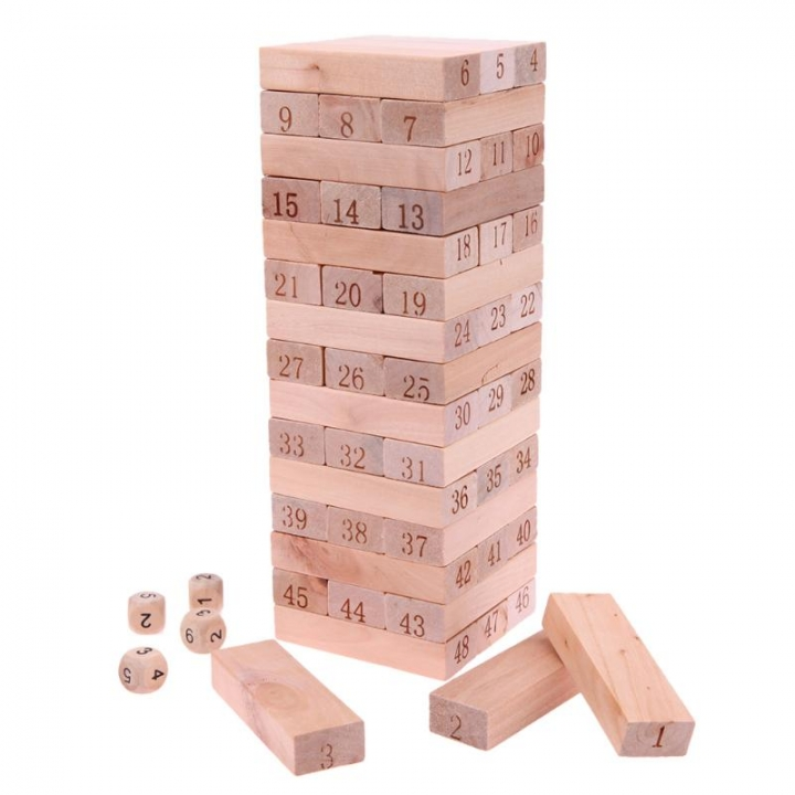 Wooden Digital Stacked Layers High Building Blocks Casual Game Kids Educational Toys white one size