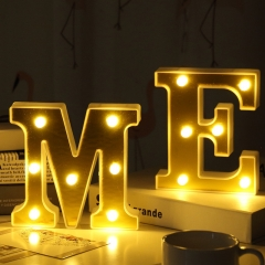 Gold plating 26 English Letter light led Modeling lamp Wedding Night light birthday Proposal light B one size 1w