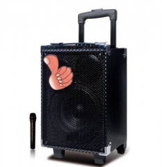 8 Inch Portable Trolley Battery Outdoor Audio Speaker Wireless Bluetooth Microphone Speaker black 60W one size