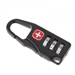 Zinc alloy Three rounds Mini password Luggage Zipper lock Switzerland Cross password black one size