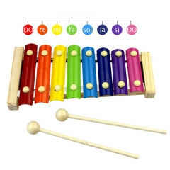 TOEPAK 8 Keys Hand Knock Xylophone Toys with  Mallets Colorful Musical Instrument for Toddler color one size