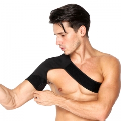 Breathable Gym Sports Care Single Shoulder Support Back Brace Guard Shoulder Protection Bandage black one size