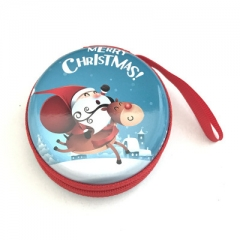 Western style Christmas pattern Coin Purse  zipper Key box Tinplate Headset bag 1 one size