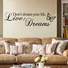 Creative English wallpaper butterfly motto background Wall Sticker 1 one size