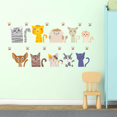10 lovely kitten Switch Sticker notebook Children's room bedroom Wall sticker 1 one size