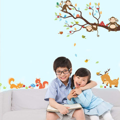 Cartoon monkey Big tree Wall Sticker Children's room living room bedroom background decoration 1 one size